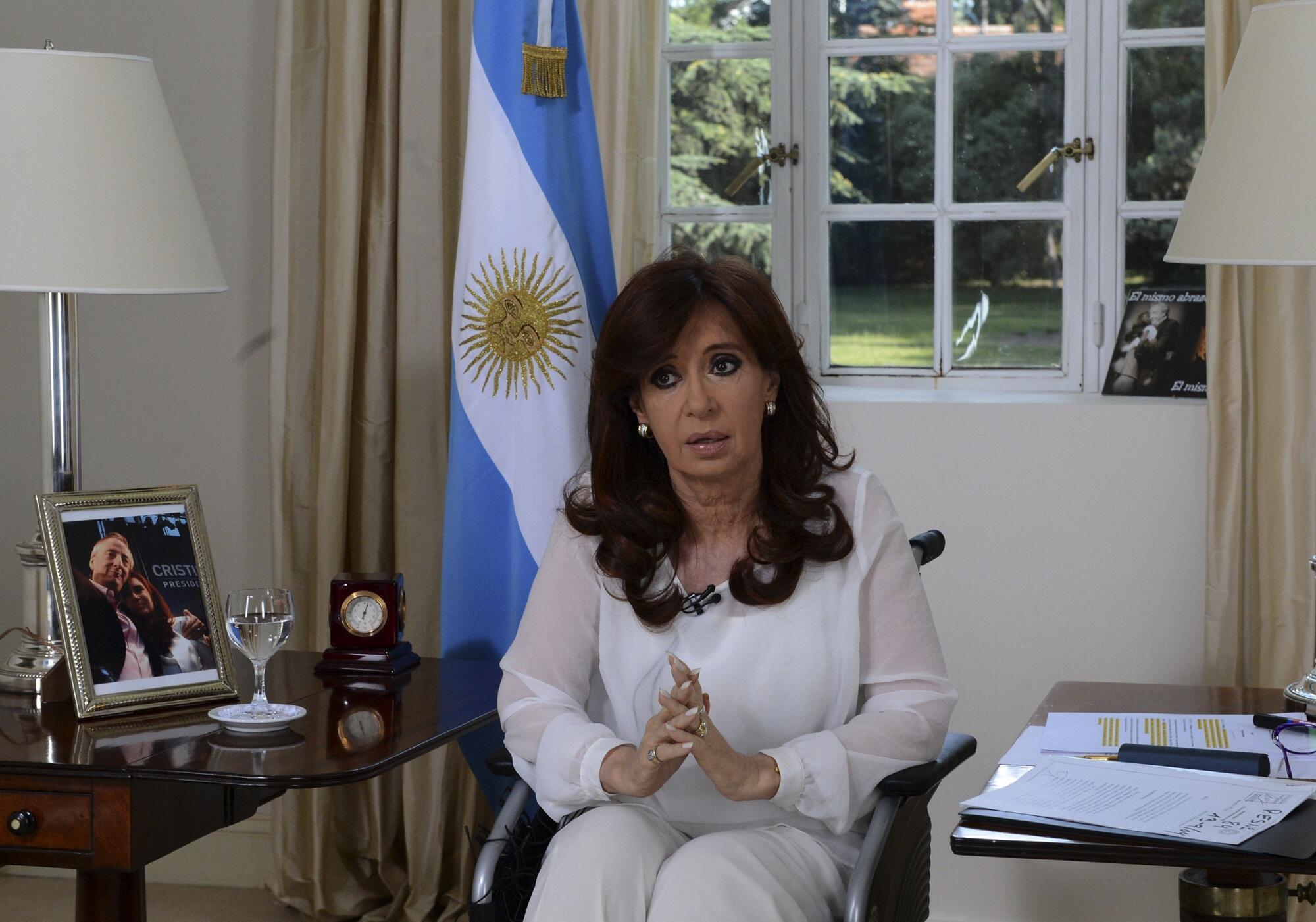 La presidenta Argentina durante su declaración televisiva el 26 de enero de 2015.