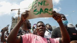 Manifestation contre les violences policières à Lagos, le 12 octobre 2020.