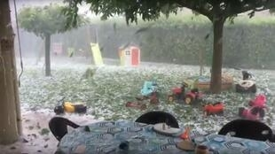 """Apocalyptic"" hail storm hits Chanos-Curson, Drôme, France, 15 June 2019."