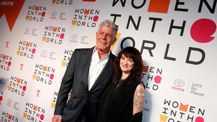 Anthony Bourdain with Asia Argento for the Women In The World Summit in New York in April