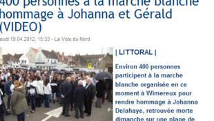 Une marche blanche en hommage à Johanna Delahaye et son compagnon, porté disparu, a été organisée dans la ville de Wimereux, dans le nord de la France, le 19 avril 2012.
