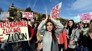 Manifestants contre les violences sexuelles, le 19 octobre 2019 à Zagreb, en Croatie.