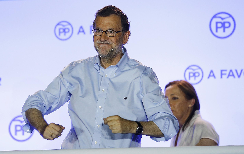Mariano Rajoy en la sede del Partido Popular ante sus simpatisantes en Madrid, el 27 de junio de 2016.
