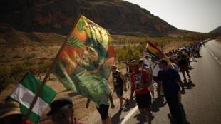 Une marche près de Cadix contre la politique de rigueur en Andalousie. Photo : août 2012.