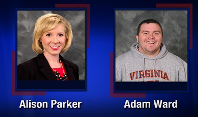 Alison Parker e Adam Ward, os dois jornalistas norte-americanos assassinados hoje no Estado da Virgilia