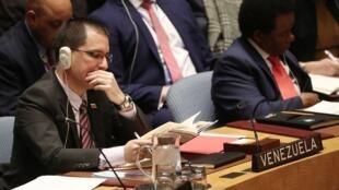 Ngoại trưởng Venezuela Jorge Arreaza tại một phiên họp của Hội Đồng Bảo An về tình hình Venezuela, New York, 26/02/2019.