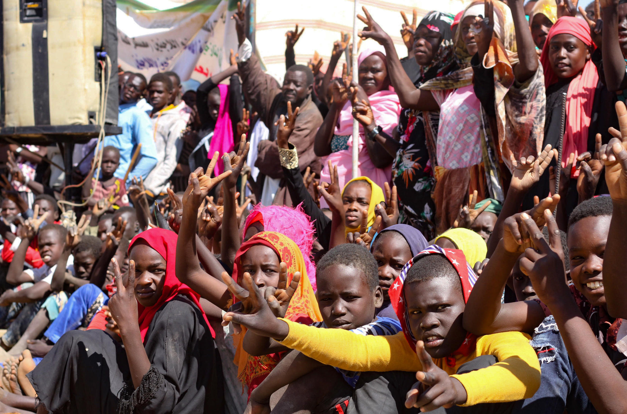 Internally displaced people in South Darfur protesting against the end of the joint United Nations/African Union peacekeeping mission.