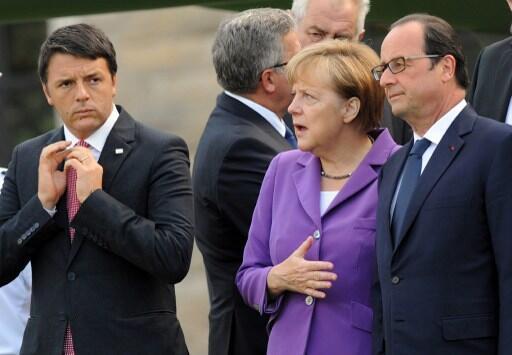 លោក Matteo Renzi (ឆ្វេង)នាយករដ្ឋមន្ត្រីអ៊ីតាលី លោកស្រី Angela Merkel និងលោក François Hollande ប្រធានាធិបតីបារាំង