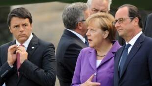 Matteo Renzi na Italiya da  Angela Merkel na Jamus da kuma François Hollande  na Faransa