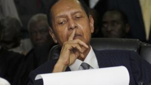 Jean-Claude Duvalier, lors de l'énonciation des charges contre lui par la Cour d'appel de Port-au-Prince, le 28 février 2013.