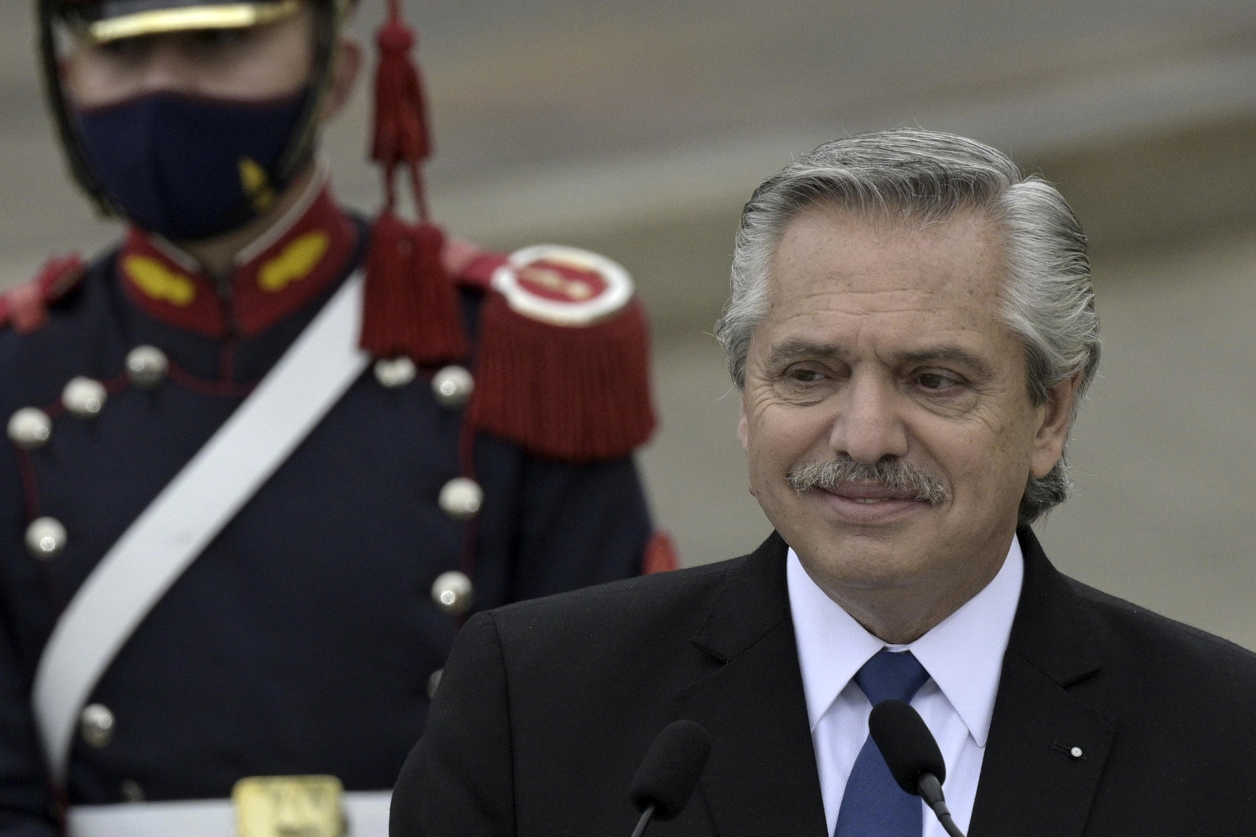 Argentina's President Alberto Fernandez is seen during a press conference in Buenos Aires on June 9, 2021