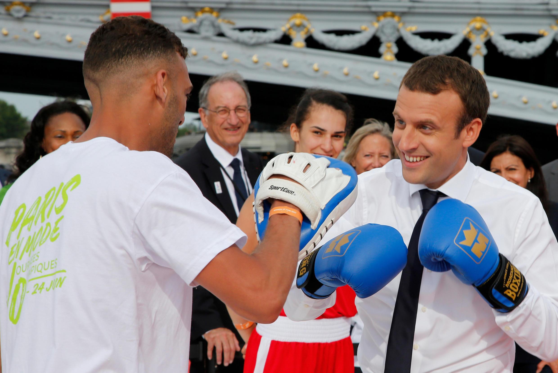 Эмманюэль Макрон во время представления кандидатуры Парижа на Олимпийские игры 2024, июнь 2017.
