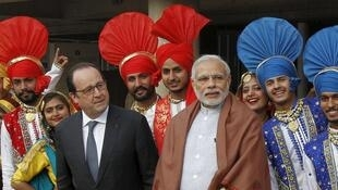 French President François Hollande and Indian Prime Minister Narendra Modi in Chandigarh on Sunday
