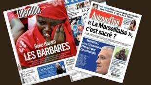 Capa dos jornais franceses Liberation, Aujourd'hui en France, e Le Figaro desta terça-feira, 13 de maio de 2014.