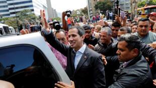 Lãnh đạo đối lập Venezuela, ông Juan Guaido, tham gia vào một cuộc biểu tình phản đối chính quyền Maduro, Caracas, 20/02/2019.