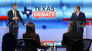 Democrat Beto O'Rourke (L) debates with Republican Senator Ted Cruz at the KENS-5 Studios in San Antonio, Texas, last month