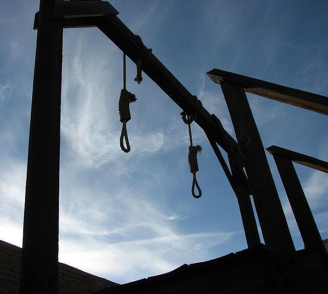 A forca, técnica usada durante a execução da pena de morte no Japão.