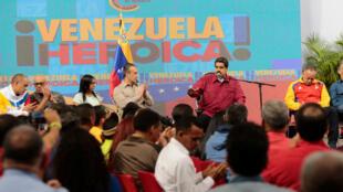 Le président vénézuélien Nicolas Maduro parle lors d'une réunion avec les membres de l'Assemblée constituante à Caracas, le 2 août 2017.