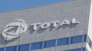 Total's logo on a Paris building