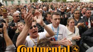 Une manifestation des salariés de l'usine Continental de Clairoix, dans l'Oise, en 2009.