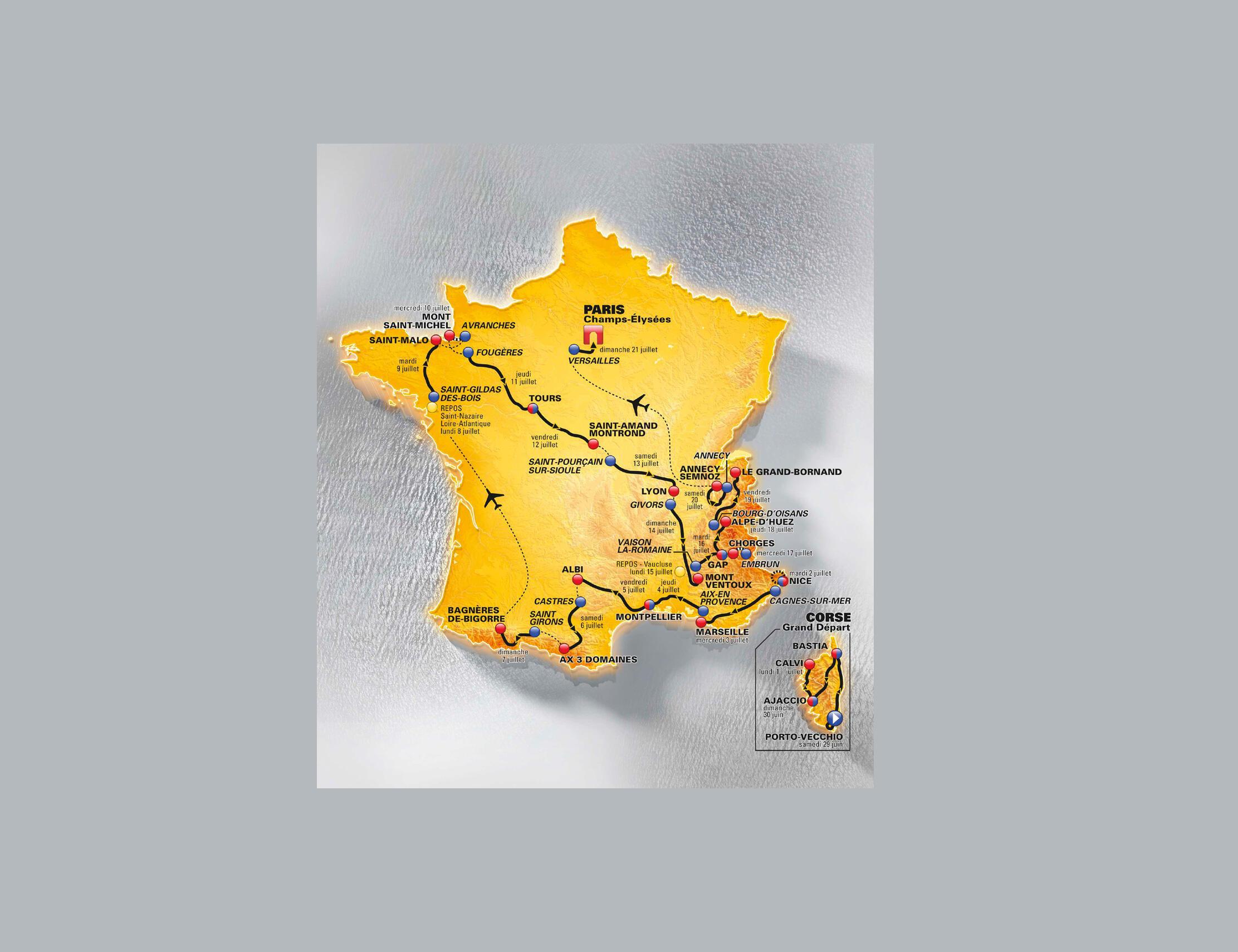 O itinerário da Volta da França 2013, revelado nesta quarta-feira, será 100% francês.