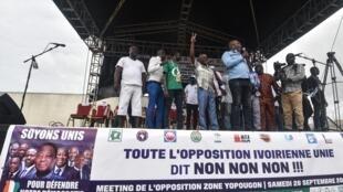 La coalition de l'opposition demande notamment le retrait de la candidature d'Alassane Ouattara pour un troisième mandat.