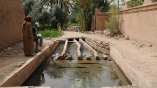 Galerie souterraine de l'oasis de Skoura.