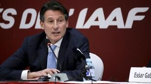 Newly elected president of the IAAF Sebastian Coe speaks at a news conference in Beijing, 19 August 2015