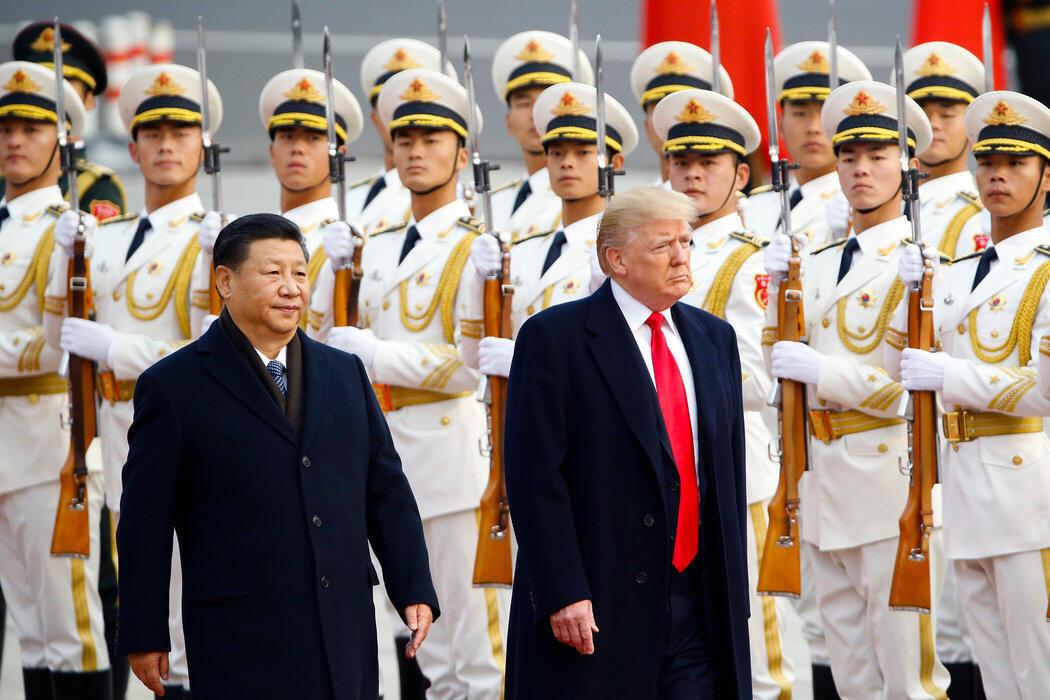 美國總統特朗普總統與中國國家主席習近平於2017年在北京舉行的歡迎儀式上