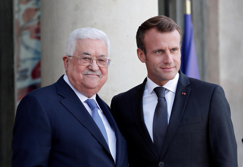 shugaban Faransa Emmanuel Macron da na Falestinawa Mahmoud Abbas. 21/09/18