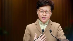 香港特首林郑月娥元月七日在发布会上