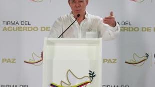 O presidente colombiano Juan Manuel Santos durante coletiva em Cartagena sobre assinatura do acordo de paz. 25/09/16