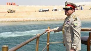 Президента Египта Абдул-Фаттах Ас-Сиси на торжественном открытии дополнительного русла Суэцкого канала, Египет, Исмаилия, 6 августа 2015 года
