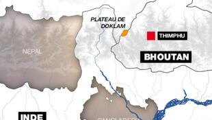 Bản đồ nới tranh chấp - Doklam - giữa Bhutan và Trung Quốc.