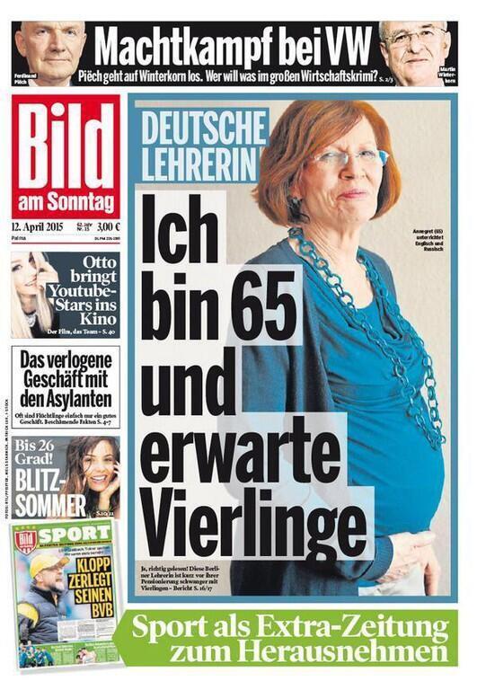 Ảnh chụp bà Annegret Raunigk trên trang bìa tờ báo Bild - DR