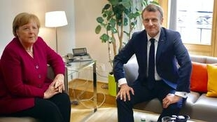 Chanceler alemã Angela Merkel e o Presidente francês, Emmanuel Macron, defendem candidatos diferentes
