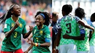 Picha tofautio zikionyesha wachezaji wa timu za taifa za Nigeria na Cameroon