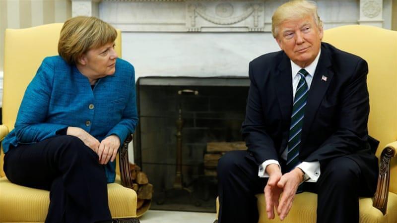 德國總理默克爾與美國總統特朗普資料圖片