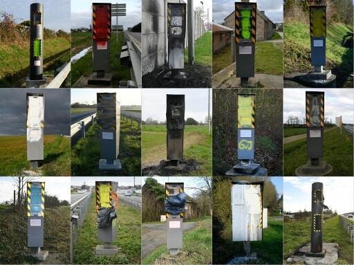 Montagem com radares vandalizados no noroeste da França.