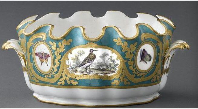 Чаша для бокалов из сервиза с птицами Севрской мануфактуры
