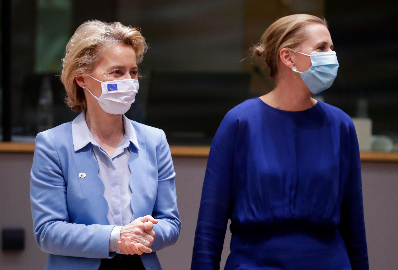 European Commission President Ursula von der Leyen (left) and Danish Prime Minister Mette Frederiksen in Brussels on July 21st, 2020.