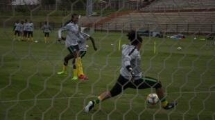 Les Banyana Banyana à l'entraînement avant leur match amical contre la Jamaïque, en avril dernier.