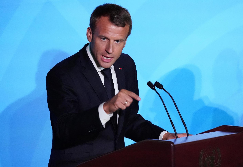Shugaban  Faransa Emmanuel Macron yayin jawabinsa a taron Majalisar Dinkin Duniya
