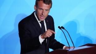 French president Emmanuel Macron, New York, 23 Sept.