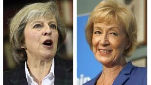 Theresa May (T) và Andrea Leadsom, ứng viên thủ tướng Anh.