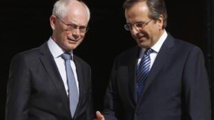 Le Premier ministre grec Antonis Samaras (à droite) et le président du Conseil européen Herman Van Rompuy, le 7 septembre à Athènes.