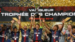 Celebración del PSG, al ganar el Trofeo de Campeones.