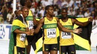 Os vencedores da prova 4x100 no Mundial de Atletismo: Michael Frater, Usain Bolt, Yohan Blake e Nesta Carter.