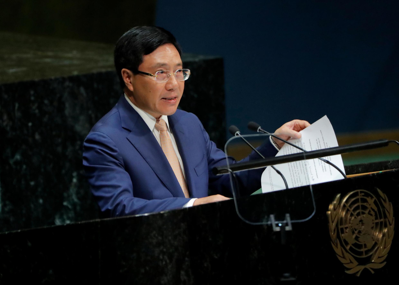 Ngoại trưởng kiêm phó thủ tướng Việt Nam Phạm Bình Minh phát biểu tại Đại Hội Đồng LHQ. Ảnh ngày 28/09/2019.