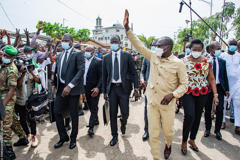 Shugaban kasar Benin Patrice Talon bayan kada kuri'arsa a zaben 11 ga watan Afrelun 2021